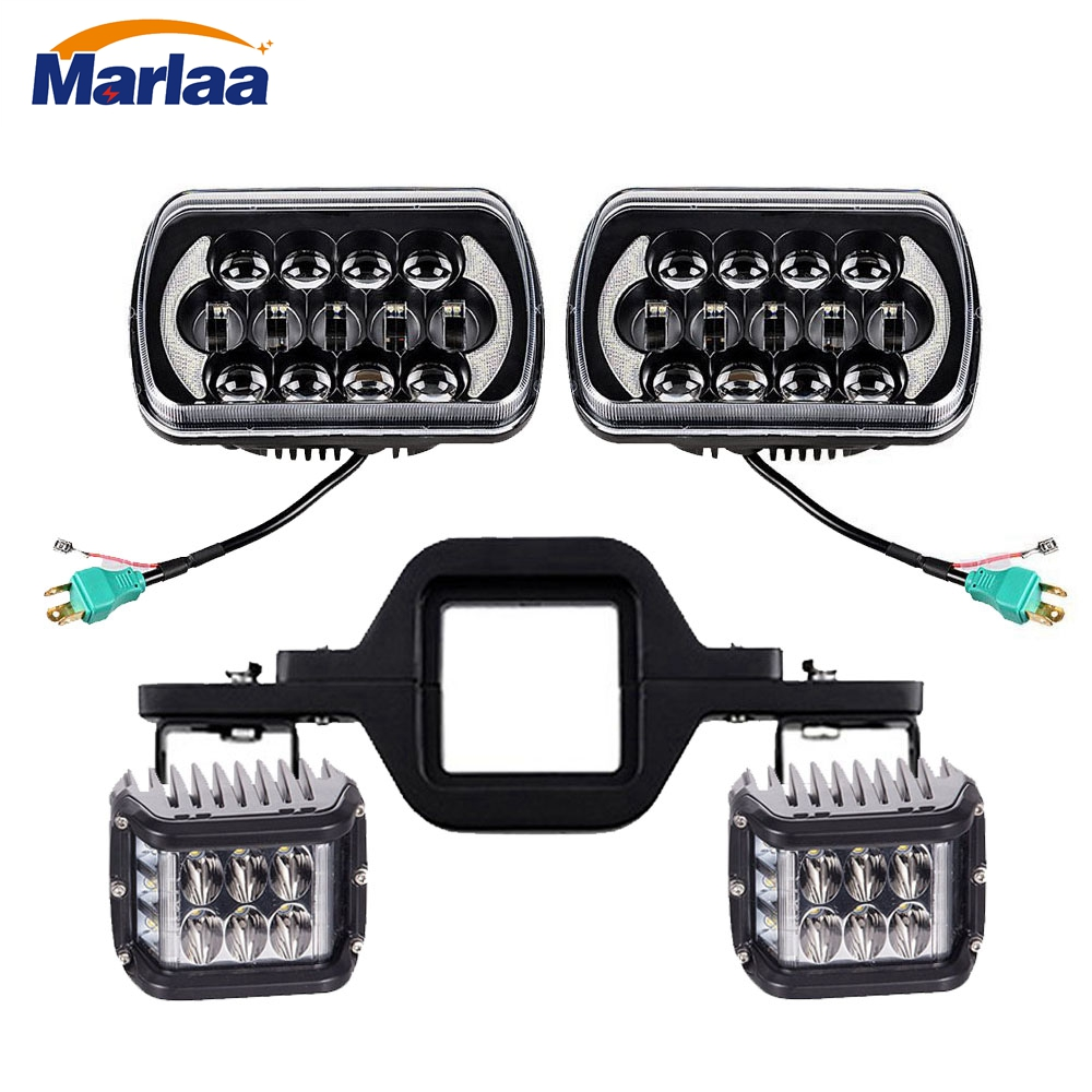 hight resolution of 5x7 7x6 inch led headlights 4 flashing cubes led work light tow hitch mounting bracket for jeep wrangler yj cherokee xj