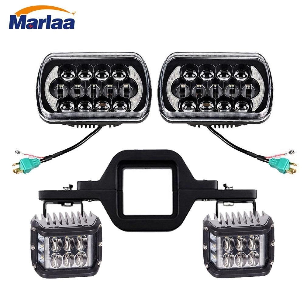 medium resolution of 5x7 7x6 inch led headlights 4 flashing cubes led work light tow hitch mounting bracket for jeep wrangler yj cherokee xj