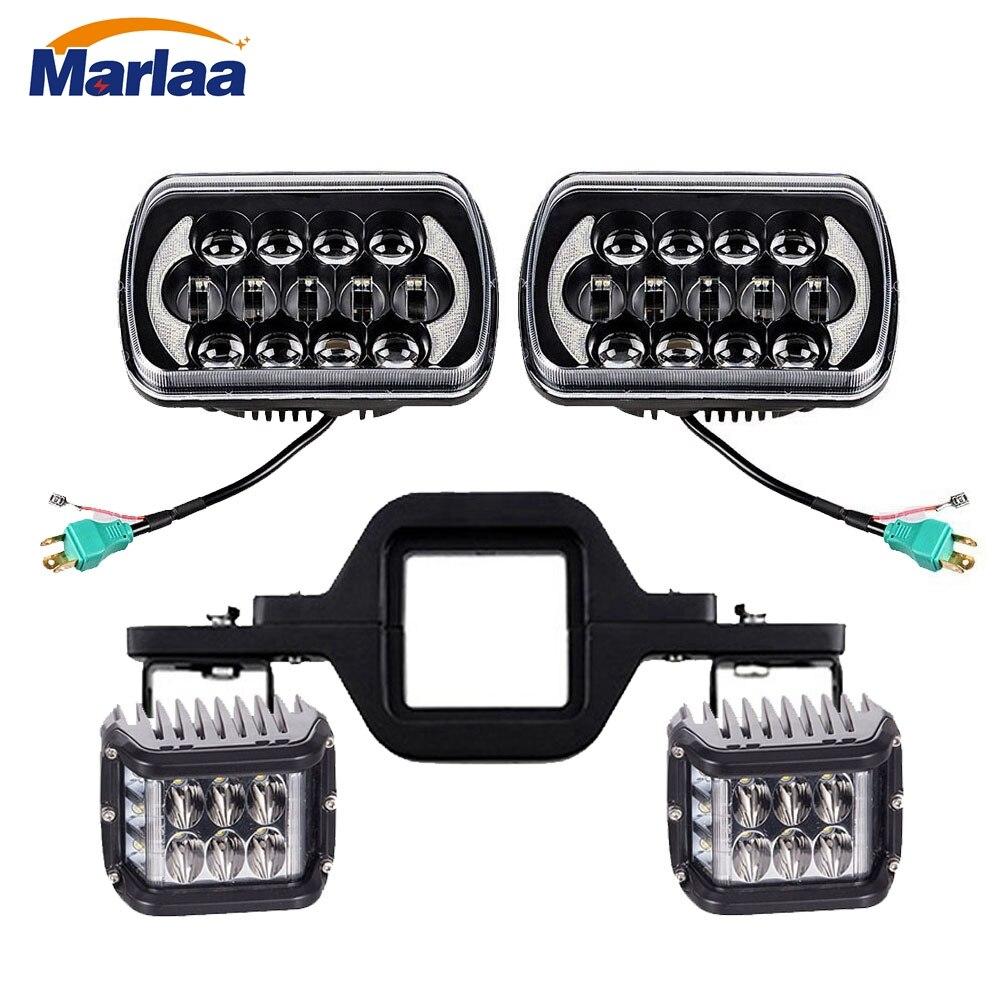5x7 7x6 Inch LED Headlights 4 Flashing Cubes Led Work Light Tow Hitch Mounting Bracket For Jeep Wrangler YJ Cherokee XJ