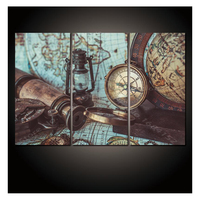 3 piece 5D Diamond Painting 3PCS Abstract Pictures of Colorful World Map Cross Stitch mosaic diamond Embroidery clock wall decor