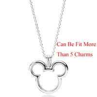 Diseny, Mickey Floating Locket Necklace 100% Real 925 Sterling Silver Necklace Can Be Fit More Than 5 Charms For Women Jewelry