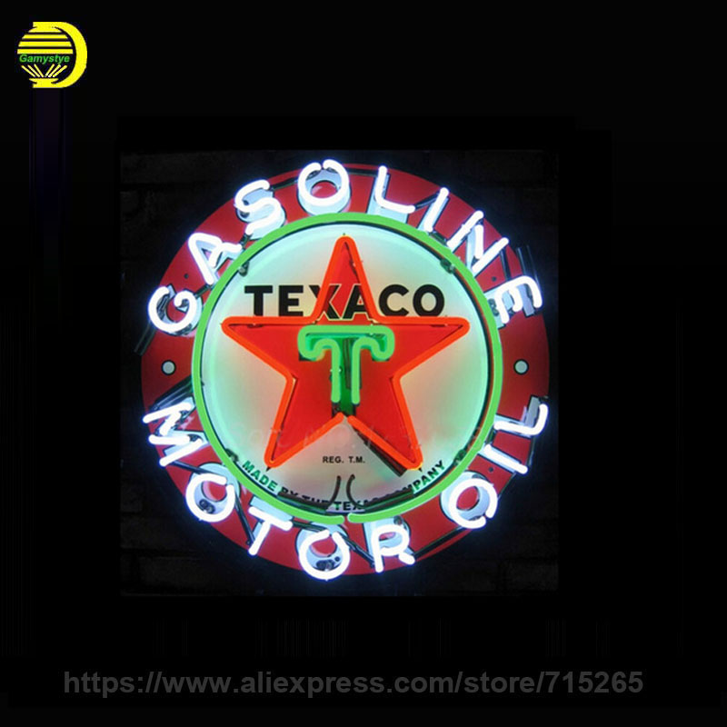 Texaco Gasoline Motor Oil Glass Tube neon sign Handcrafted Automotive signs Beer Bar Club Pub Shop Store Signage  18x18 VD custom signage neon signs pizza beer real glass tube bar pub signboard display decorate store shop light sign 17 14
