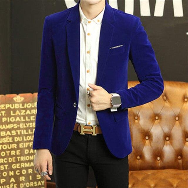 fb8353213e5d3 Velluto blu Uomini Giacca sportiva giacca Bordeaux Masculino Uomo Nero  Blazer Designs Mens Giacca di Velluto