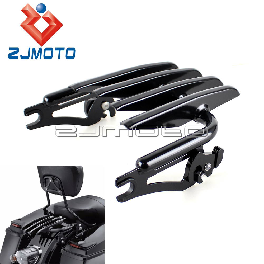 Black Motorcycle Detachable Stealth Luggage Rack For Harley Touring Road King Street Glide FLHRC FLHTCU 2009