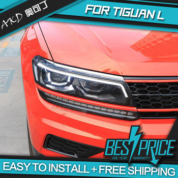 AKD Cars Styling Headlight For VW Tiguan L 2017 2018 Headlights LED Running lights Bi-Xenon Beam Fog lights angel eyes Auto
