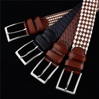 Simple Pin Buckle Elastic Stretch Fabric Belts Hot Sale 40 Leather 60 Cotton Cross Knitted Male