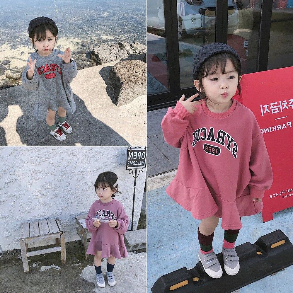 2018 Herfst Nieuwe Collectie Koreaanse Versie Katoen Losse Stijl All-match Toevallige Letters Gedrukt Hoodie Voor Schattige Mode Baby Meisjes Non-Strijkservice