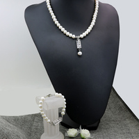 Free Shipping Elegant Natural White Freshwater Cultured 8 9mm Pearl Beads Necklace Bracelets For Women Pendant
