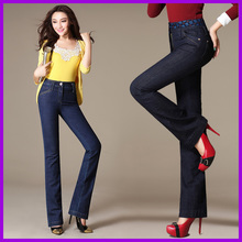 2016 autumn and winter excessive waist was skinny stretch Slim giant measurement embroidery audio system denim trousers