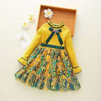 2018 New Fall Autumn Floral Bowknot Little Girls Princess Dress Sweater Knit Long Sleeve Kids Dresses For Girl Baby Clothes Z16