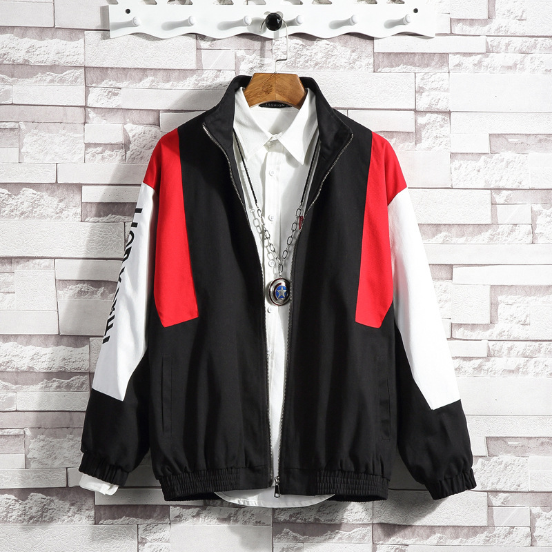 Spring autumn new arrival mens jacket Korean fashion casual spliced print large size 5XL loose color blocking stand collar