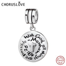 Choruslove Prayer Cross Dangle Bead Genuine 925 Sterling Silver Beads Fit Original Pandora Charms Easter Day Gift DIY Bracelet