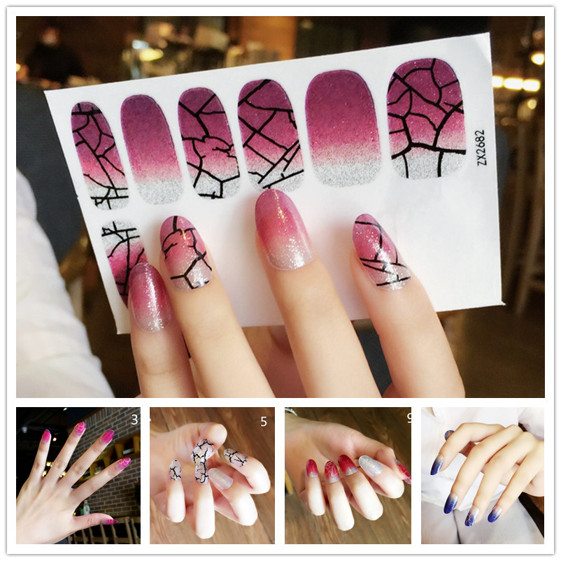 Gradient flashing powder nail sticker turtle crack fake nail sticker ...