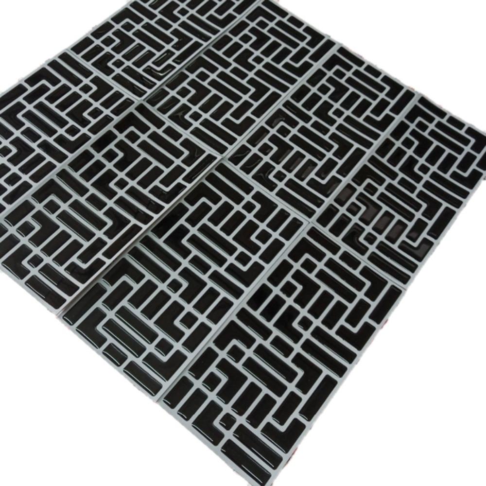 2019 New Trend 10 Pcs/Pack Vinyl Self Adhesive 3d Black Mosaic Wall Kitchen Bathroom Backsplash Waterproof And Removable Tile