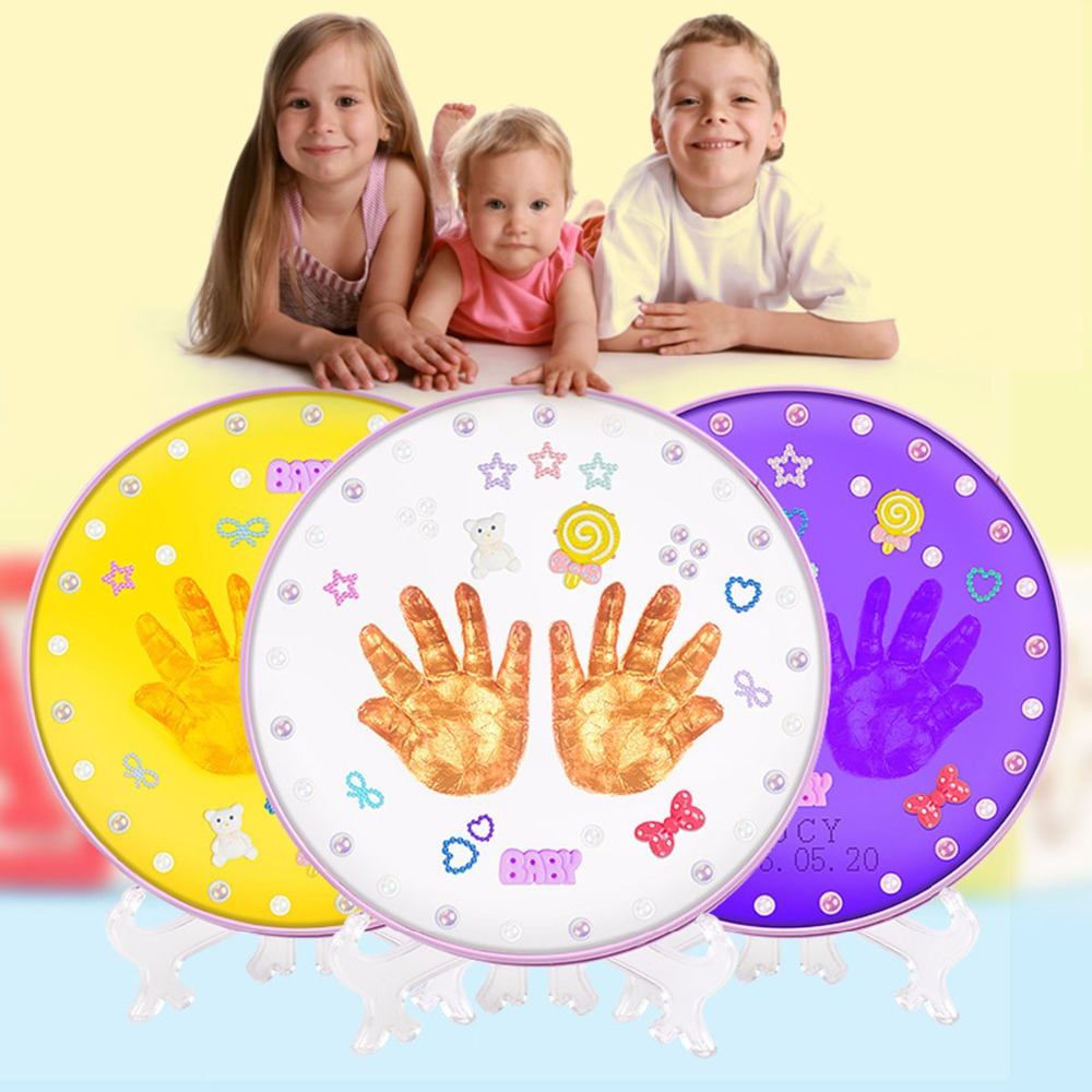 Mother & Kids Baby Souvenirs Hand & Footprint Makers Soft Clay Newborn Baby Inkless Handprint Footprint for 0-3 Years Kids