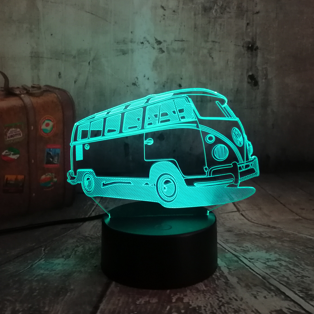 New 2018 3D Lamparas Patrol Bus LED 7 Color Change Lava Night Light Bedroom Bedside Lamp Decor Child Kid Xmas Halloween Toy Gift new 2018 3d planet earth night light desk table lamp color change rc control baby sleep lamp kid halloween christmas gift decor