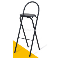 75cm Seat Height Foldable High Footstool Steel Leg Coffee Bar Counter Chair Arc Backrest Bar Stool Modern Commercial Furniture