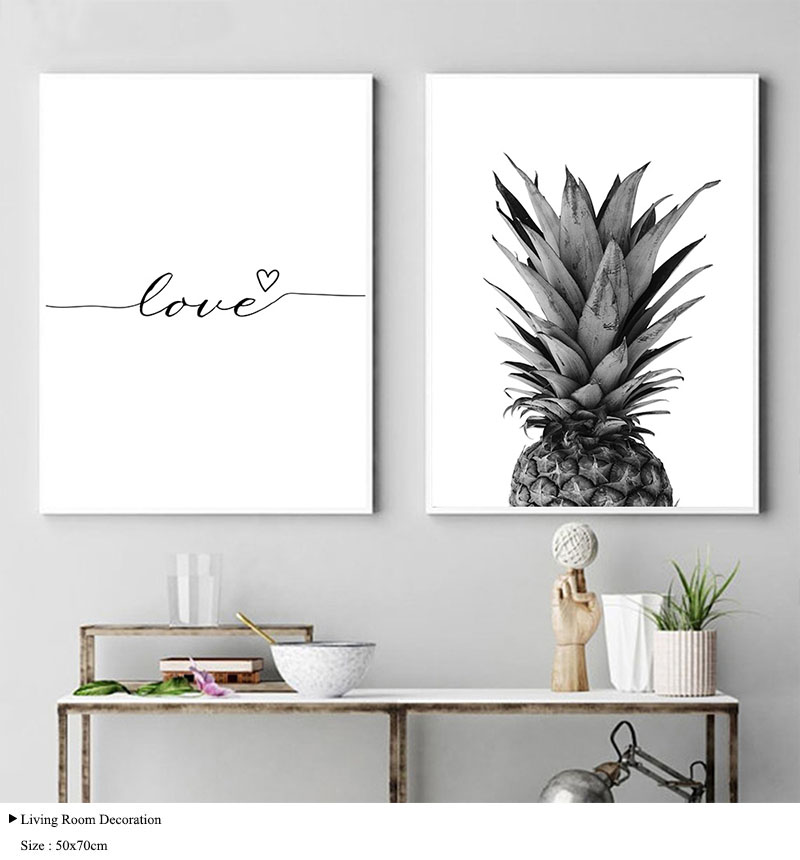 HTB1I FSb4naK1RjSZFtq6zC2VXaO NICOLESHENTING Pineapple Wall Art Canvas Posters Prints Nordic Love Quote Paintings Black White Wall Picture for Living Room