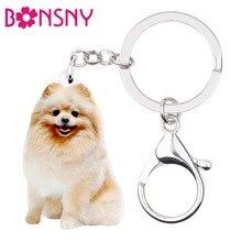 Bonsny акриловые счастливые сидящие померанские собаки брелки цепочки брелок кольца ювелирные изделия для женщин девочек подростков подвески-сумочки подарок