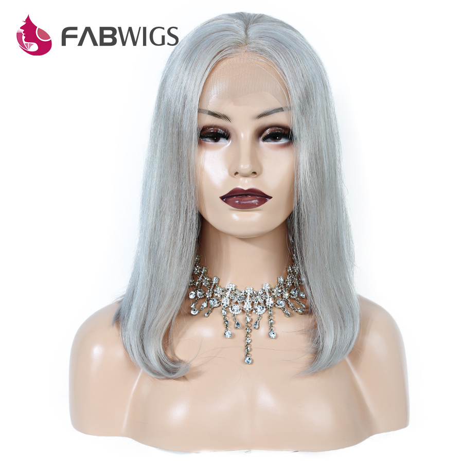 Fabwigs 180 Density 13x4 Lace Front Human Hair Wigs with Baby Hair Pure Grey Color Brazilian