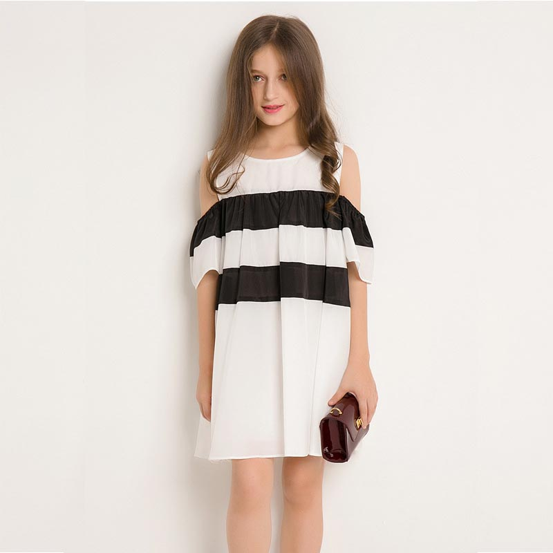 girls dresses school outfit off sleeveless striped teenage