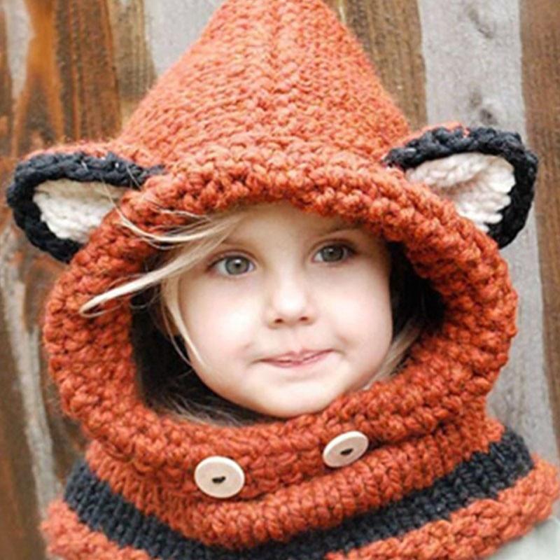 Varm nakkepakke Røde øre Vinter vindtæt Baby hatte og tørklæde sæt til børn Drenge Piger Shapka Caps til børn Uld strikkede hatte