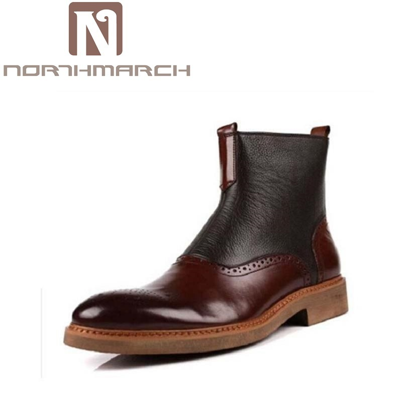 NORTHMARCH Ankle Boots Men Leather Slip On Front Men Shoes Vintage Brogues Print Winter Shoes Men High Top Zipper Black Boots letter print knot front top