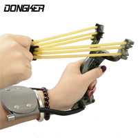 DONGKER Powerful Hunting Slingshot Catapult With Rubber Band Catapult Tactical Plastic Pocket Sling Shot Bow Sling