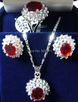 Free Shipping Charming 14KGP Red Rhinestone Necklace Earring Ring Sets