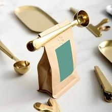 16x3,7x2,5 см креативная кофейная ложка из нержавеющей стали с сумкой, уплотнительная клипса, ложка для молочного порошка, льда, для измерения сливок, кухонный инструмент