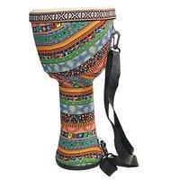 Beautiful African Djembe Drum Bongo Wooden Good Sound Musical Instrument Colorful Cloth Art ABS Barrel PVC Skin Children Hand