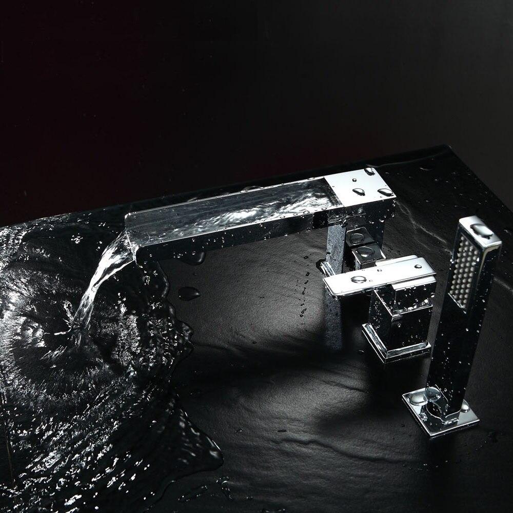 quyanre wanfan frap matte black bathtub faucet watefall long spout single handle mixer tap with pull out handshower bathroom shower faucet4