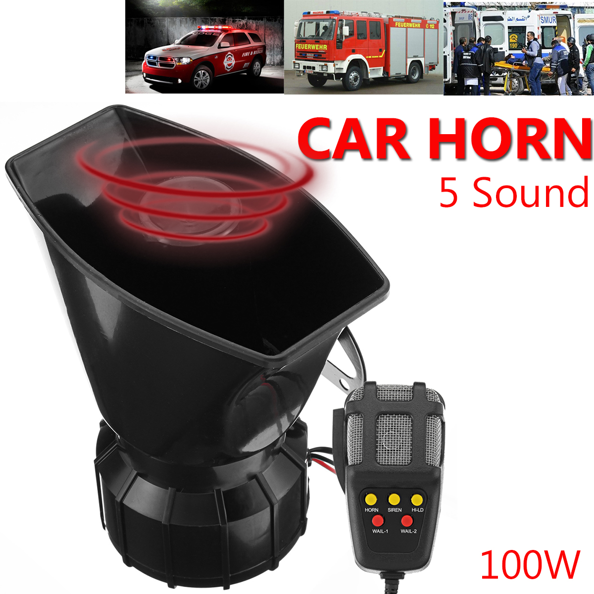 100W 12V Truck Car Warning Alarm Claxon Auto Horns 5 Sound Tones Loud Security Fire Police Siren Horn PA Loundspeaker with Mic стоимость