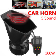 100W 12V Truck Car Warning Alarm Claxon Auto Horns 5 Sound Tones Loud Security Fire Police Siren Horn PA Loundspeaker with Mic(China)
