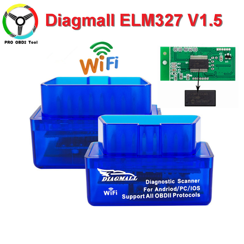 Mini ELM327 WiFi V1.5 OBD2 Car Diagnostic Tool ELM-327-1.5 Works On IOS Android ELM327 WI-FI Support OBDII protocols Free Ship