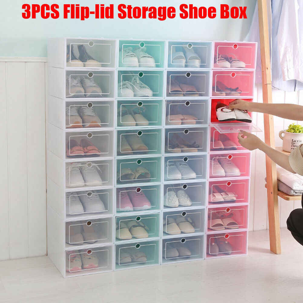 New Arrival  Home Shoe Organizer 3Pcs Plastic Storage Clear Box Stackable Foldable Dust proof Waterproof