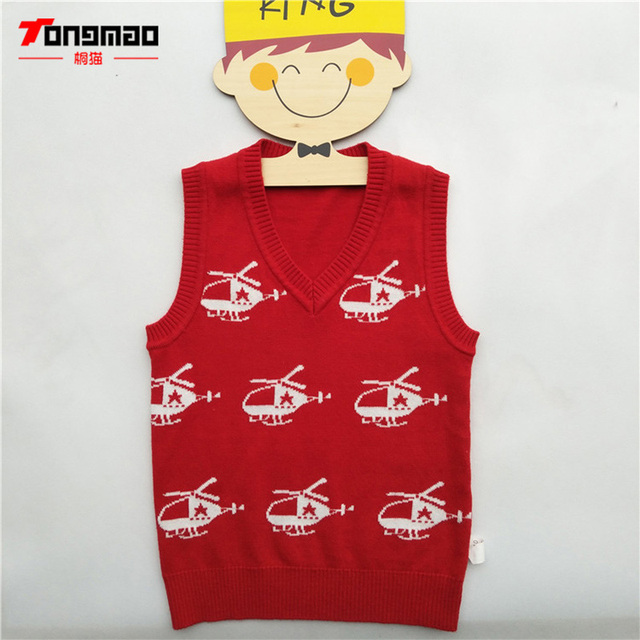 eeda1abdddc0 Autumn Winter Children Boys Wool Vest Sweater Helicopter Pattern V ...