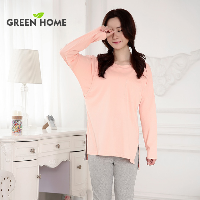 d560f33e1e pregnancy sleepwear pink comfortable maternity tops and bottom Green Home  maternity homewear thick maternity pajamas for winter
