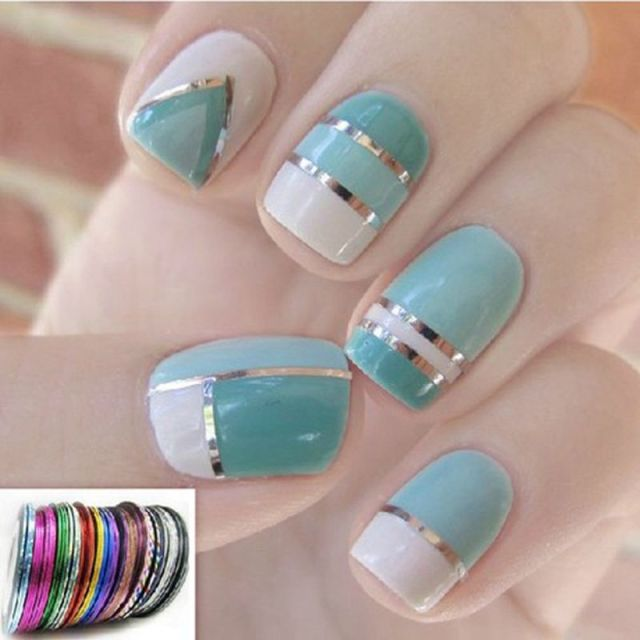 30 Rolls Nail Art Metallic Yarn Nails Line Nail Design Strips Tape