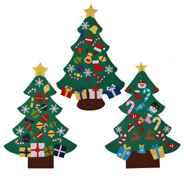 diy felt christmas tree with ornaments door wall hanging xmas decoration children christmas gifts