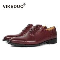 VIKEDUO Luxury Brand Fashion Newest Men's Oxford Brown Shoes Genuine Leather Royal Wedding Dress Shoe Charm Man Male Footwear