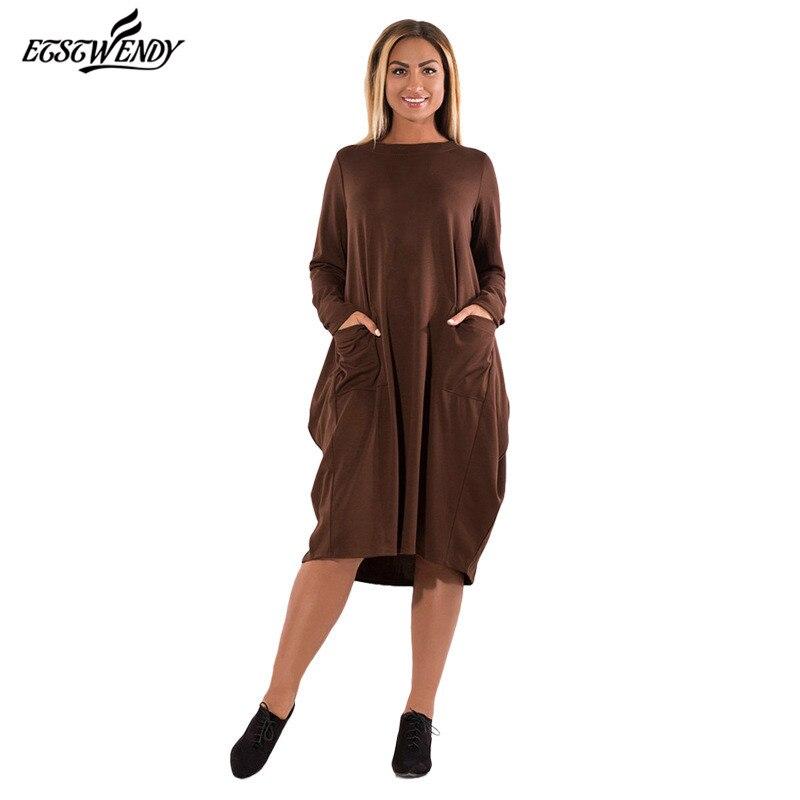 Nouvelle L-6XL Grande Taille 2017 Hiver Robe Grande Taille Lâche élégance Robe Casual Robe Brun Jaune Robe Plus La Taille Femmes vêtements