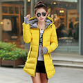 Дешевые оптовая 2017 Осень зима slim down хлопка Куртки женские средние и длинные утолщение с капюшоном женщин перчатки ватные Пальто