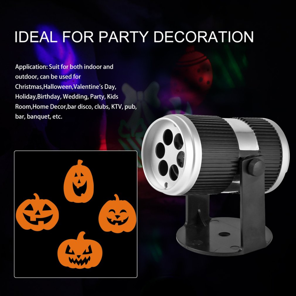 4W LED Halloween Projector Light Bulb Voice Control Speed control LED Lamp Party Holiday Christmas Lighting Bright AC100-240V