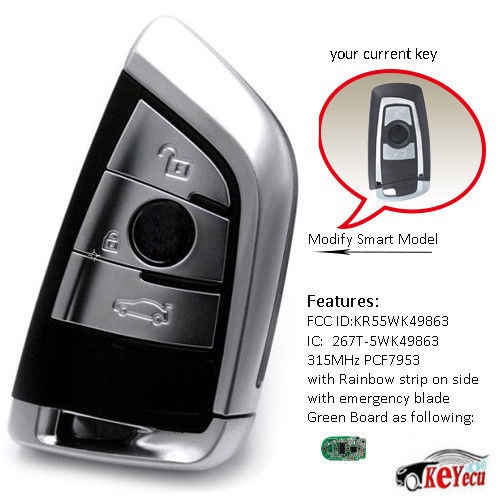 KEYECU For 2PCS Silver Remote Key Fob 3 Button 315MHz For BMW F Series CAS4+/FEM FCC:KR55WK49863