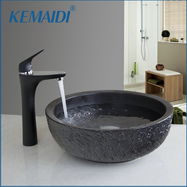 KEMAIDI Bathroom Sink Washbasin Ceramics Black Basin Chrome Faucet ...