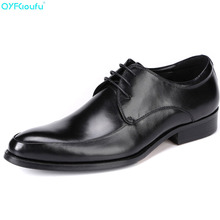 где купить 2019 Men Wedding Dress Business Genuine Leather Slip On Shoes Black Brown Men Formal Shoes Lace-up Oxford Classic Shoe по лучшей цене