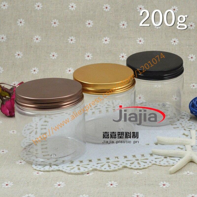 200 grams clear  PET Jar,200g clear PET Transparent Cosmetic Cream Jar with blackgoldbronze aluminum Cap,Wedding Candy Box