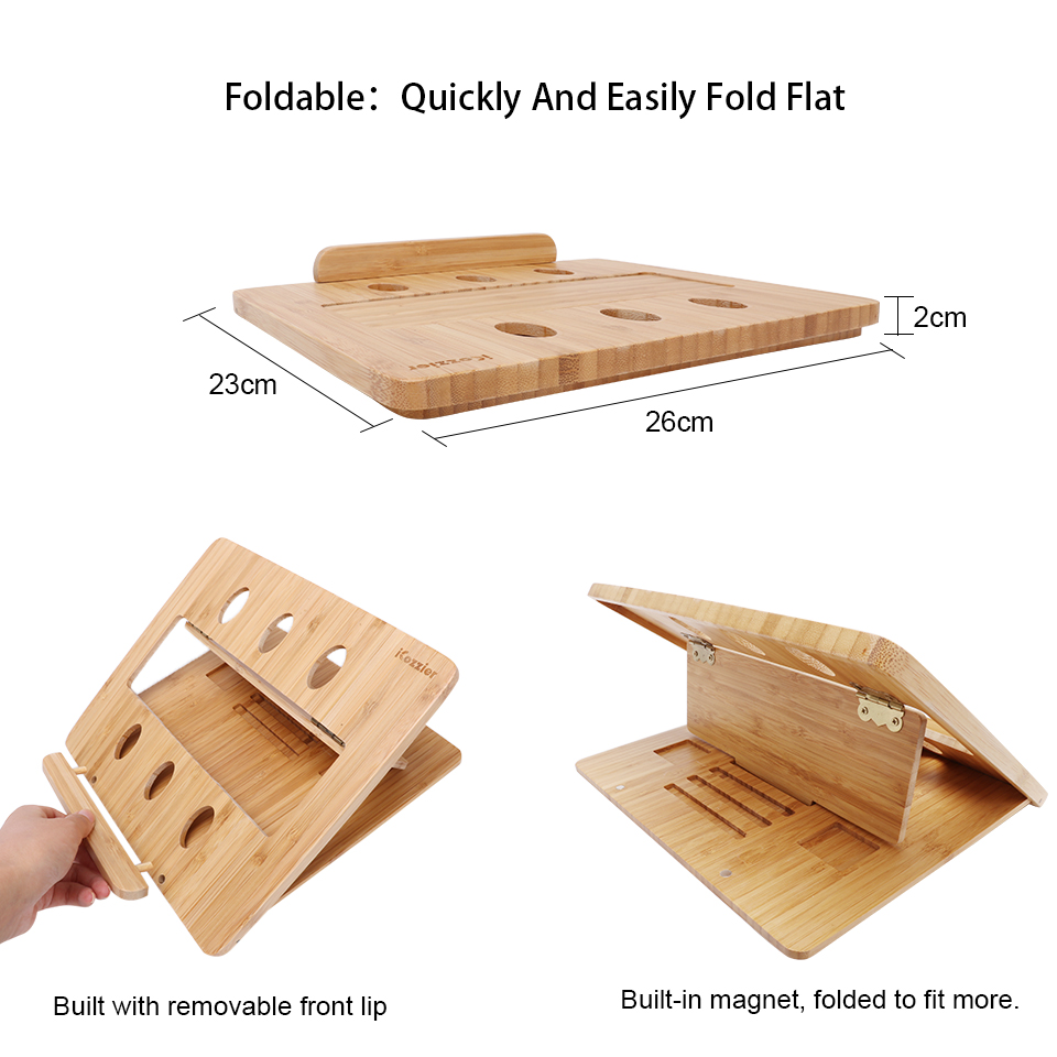 icozzier foldable adjustable bamboo laptop stand holder with heat dissipation mount for notebook laptops