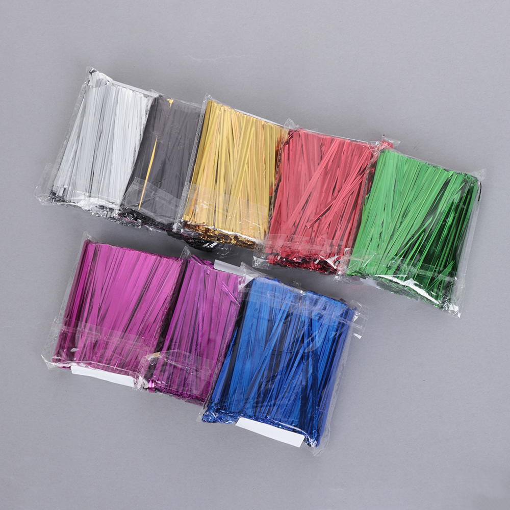 200PCS Metallic Twist Tie Wire for Sealing Golden Iron Wire fit Gift bag packing